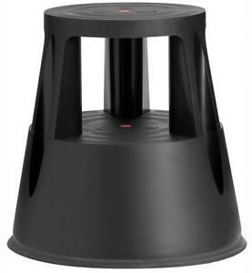 Commercial Rolling 2 Step Stool, Black , 17 Inches Tall, 330 Lbs Capacity
