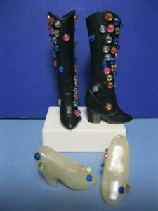 Barbie Doll OOAK Bejeweled Princess White Pearl Pumps/Black Boots Custom Shoes