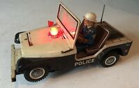 VINTAGE NOMURA JAPAN TINPLATE  BATTERY OPERATED POLICE JEEP ~ MYSTERY ACTION
