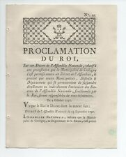 1790 PROCLAMATION DU ROI CORBIGNY NIEVRE BOURGOGNE