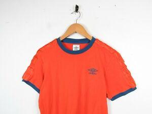 Umbro T-shirt Orange Striped Tape Logo Short Sleeved Round Neck Size Medium