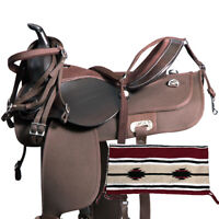 Beautiful Synthetic Western Barrel Racing Horse Saddle Tack Size 14 to 18