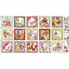 Loralie Chicken Rooster Hens Chique Portrait Fabric Panel on White Background