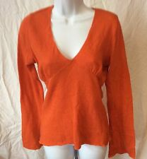 VELVET wool and cashmere deep V-neck Orange sweater with deep bell sleeves