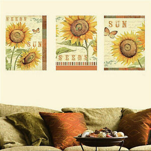 """WALLIES SUNFLOWERS wall stickers 3 big decals panels 8.5""""x12"""" flowers room decor"""