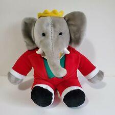 "Vintage 1988 Gund Babar Elephant 15"" Plush Stuffed Animal Grey Yellow Crown Red"