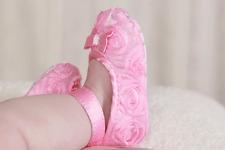 Flutter Rosette Slippers, size 12-18M, Light Pink, Comes in Organza Bag!