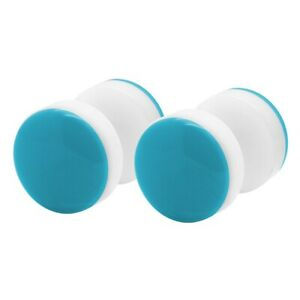 1 Pair Fake Plugs Plastic IN Neon-Coloured Orange Yellow Pink Blue Green
