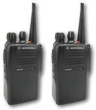 MOTOROLA GP344 UHF 4 WATT TWO WAY WALKIE-TALKIE RADIOS & G-SHAPE EARPIECES x 2