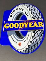 """VINTAGE GOODYEAR TIRES SERVICE STATION 12"""" BAKED METAL ADVERTISING GAS OIL SIGN"""