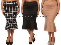 Plus Size High Waist Slim Bodycon Mermaid Ruffle Midi Skirt 1X 2X 3X