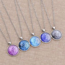 Fashion Glass Dome Pocket Watch Pattern Necklace Scales Cabochon Retro Jewelry