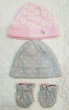 Gerber Baby Girls Organic Cotton Set 2 Hats Pink / Gray with Gloves 0-6 Months
