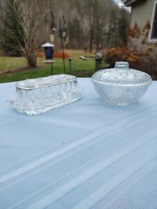 Vintage Crystal Butter Dish &. Indonesia  Candy Covered Glass Dish