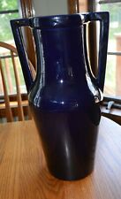 "Large 14 1/2"" Cobalt Blue Red Wing Art Pottery Double Handled Floor Vase NICE!"