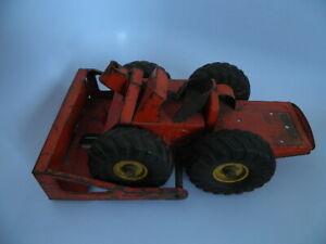Vintage 1950's NYLint NY Lint Toys Orange Heavy Pressed Metal Bull Dozer Truck