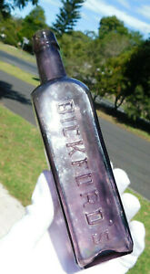 STUNNING RARE AMETHYST BICKFORD'S CORDIAL 10 0Z ADELAIDE OLD BOTTLE 1900's
