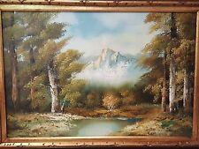 "Vintage Signed Landscape Mountains Anco Bilt Oil Painting ""David"" 24"" x 36"""