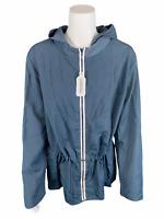zuda Women's Summit Jacket with Drawstring Waist Top Blue Mirage 3X Plus Size
