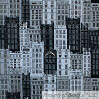 NYC BIG CITY CHICAGO SKYLINE DIGITAL WALL ART COTTON FABRIC PANEL