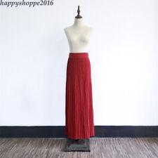 Women Pleated Chiffon Long Skirt Muslim Elastic High Waist Abaya Skirt