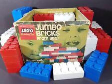 Vintage Lego Jumbo Bricks Lot of 55 Samsonite Red White & Blue Bricks /w Box