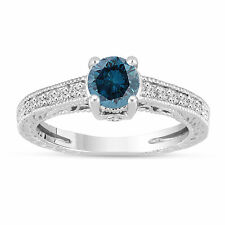1.20 Ct Enhanced Fancy Blue Diamond Engagement Ring 14K White Gold Vintage Style