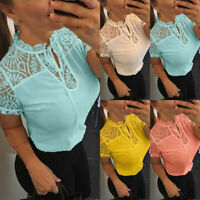 Women Lace Hollow Short Sleeve Tops Ladies Summer Casual Blouse Shirt Slim Tops
