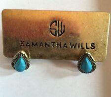 SAMANTHA WILLS~Gold Tone/Black Trim~Turquoise Marbled~Teardrop Post Earrings~NWT