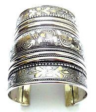 Metal Silver Oxidized Cuff Bracelet Charms Kada Wristlet Band Bangle Jewelry 57