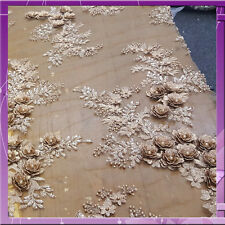 3D FLOWERS LACE HAND BEADED BEADS WITH RHINESTONE PEARLS  FABRIC GOLD 53 INCH W