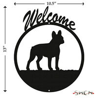 French Bulldog Black Metal Welcome Sign *NEW*