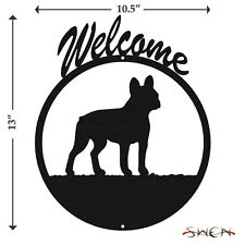 French Bulldog Black Metal Welcome Sign