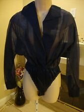 GORGEOUS BLUE SILK DONNA KARAN BODY SUIT TOP (NWT)