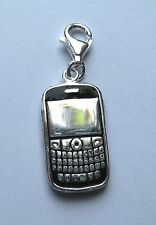 Sterling Silver Clip-on Enamelled Blackberry phone Charm