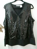 Worthington Woman  Black V-neck Sleeveless Stretchy Knit Top w/Sequins - Size 1X