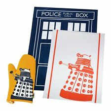 New Doctor Who TARDIS & Dalek Tea Towel 2 Pack & Dalek Oven Glove BBC Official