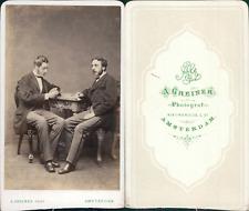 Greiner, Amsterdam, Deux hommes jouant aux cartes, circa 1870 CDV vintage albume