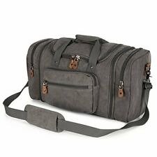 Plambag Men's Canvas Travel Duffle Bag, Large Holdall Overnight Weekend Carry On