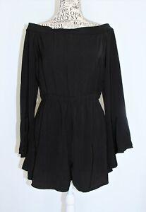 PRINCESS POLLY Size 12 Black Polyester Off Shoulder Short Playsuit Romper NWT