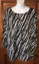 $89 CHICOS TRAVELERS Zebra Ombre Striped Drop Shoulder TOP Size 2 12/14 M/L NWT