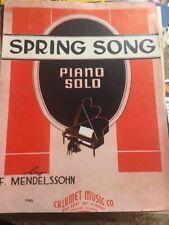 Vintage Sheet Music Spring Song Piano Solo, F. Mendelssohn 1935