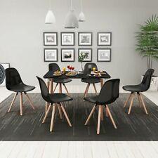 vidaXL 7-tlg. Essgruppe Sitzgruppe Esszimmer Tisch Stühle Esstischset Schwarz