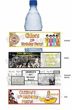 Personalized FAB 4 THE BEATLES Retro Birthday Party water bottle label wrappers