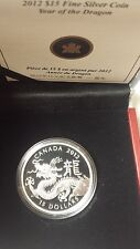 Canada 2012 $15 Lunar Dragon Round Year Proof SILVER COIN With COA Box Sleeve