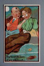 R&L Postcard: Bald Man, Edwardian Woman, Crab, Romantic Sentimental