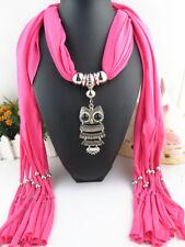 Fashion Scarf Shawl Collar Owl Pendants Necklace Jewelry Tassel Scarf
