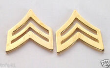 1 PAIR (2) ARMY RANK E5 SGT Gold Military Veteran Hat / Collar Pins 14887 HO