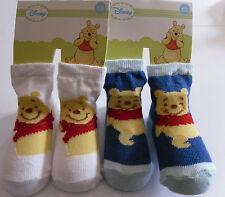 Disney Winnie Pooh * 2 x Baby Strümpfe/Socken * 6/12 Monate*Weiß/Blau*