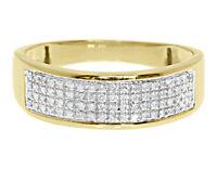 10k Yellow Gold Mens Pave Round Diamond 7mm Wedding Fashion Band Ring 0.28 ct